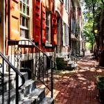 """Philadelphia PA Street With Orange Shutters"" by susansartgallery"