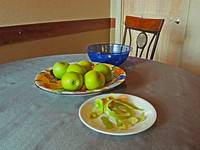 Still Life with Apple Peels and Chair
