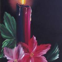 Candle and Poinsettia Art Prints & Posters by Elaine Rittler