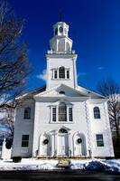 Old First Church in Snow Bennington Vermont