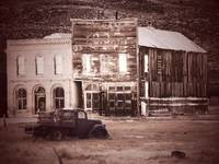 Old Buildings with Truck Sepia