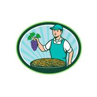 Farm Boy Holding Grapes Bowl Raisins Oval Retro