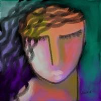 Woman with Pink Lips Abstract Digital Painting