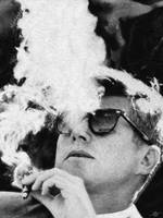 John F Kennedy Cigar and Sunglasses Black And Whit