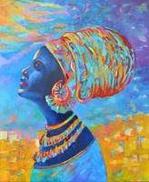 Black Woman Africa People Blue Portrait Orange