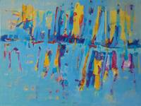 Abstract Shapes Blue Yellow Lines Bright Vivid Art