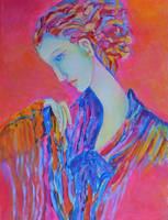 Woman Painting Portrait Pink Blue Abstract Figure