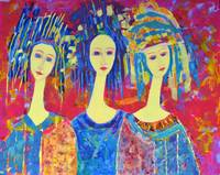 Pink Abstract Blue Women Girl Portrait Figures