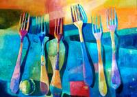 Funny Kitchen Art Abstract Forks Food Fruit Art