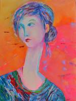 Woman Portrait Pink Girl Modigliani Style Pink Art