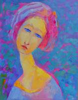Female Woman Portrait Girl Modigliani Blue Pink