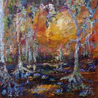 Blue Lilies Wetland Mysteries Impressionism Art Prints & Posters by Ginette Callaway