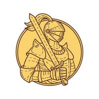 Knight Sword On Shoulder Circle Mono Line