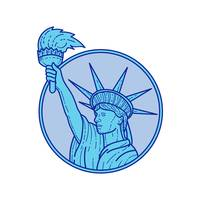 Statue of Liberty Flaming Torch Circle Mono Line