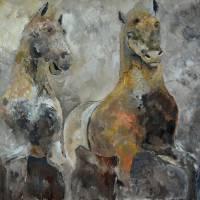 two horses 66 Art Prints & Posters by pol ledent