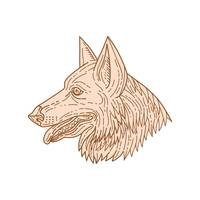 German Shepherd Dog Head Mono Line