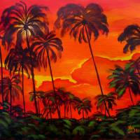 Sunset Palms Art Prints & Posters by Anthony Dunphy