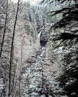 Waterfall flows through a winter frosted forest