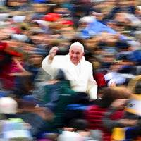Pope Francis In Crowd of Faithful Acrylic 3