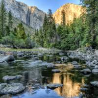Day 16 - El Capitan Sunset from Merced River 1 sm Art Prints & Posters by Mark Schaffer