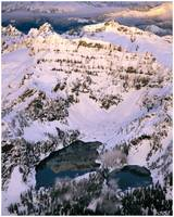 Twin Lakes below Columbia Peak at winter sunset (a