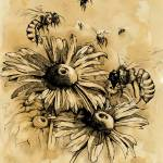 """""""Flowers and Bees - Tea stained mixed media non sig"""" by JONG23"""