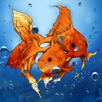 """""""Two Goldfish - Mixed media"""" by JONG23"""