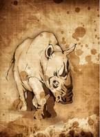 Rhinoceros - Tea stained mixed media non sig
