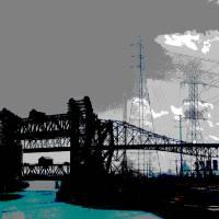 LIift Bridges Meet Chicago Skyway Art Prints & Posters by Leon Sarantos