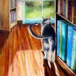 """Bibliocat"" by ArtByDianeKraudelt"