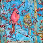 """Thomas Dillon Artist Cardinals Winter Berry"" by thomasdillon"
