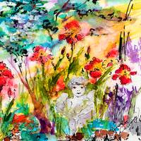 Angel In The Garden Watercolor