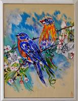 Thomas Dillon Blue Birds White Frame
