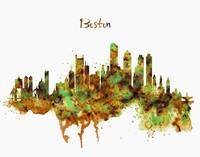 Boston Watercolor Skyline
