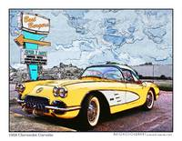 1959 Chevrolet Corvette Poster - Yellow