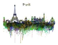 Paris Skyline Watercolor