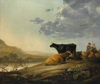 1660, Young Herdsmen with Cows by Aelbert Cuyp