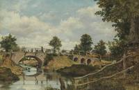 An Old Bridge at Hendon, Middlesex, Frederick Wate