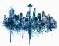 Seattle Skyline Monochrome Watercolor