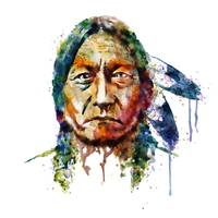 Sitting Bull Watercolor Painting