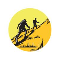 Hikers Hiking Up Steep Trail Circle Woodcut