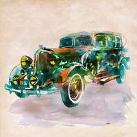 Vintage Car in watercolor