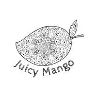 Juicy Mango Black and White Mandala