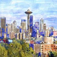 Seattle View in watercolor