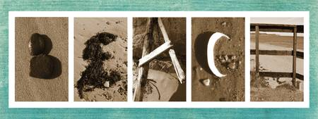 Beach Letters on Blue