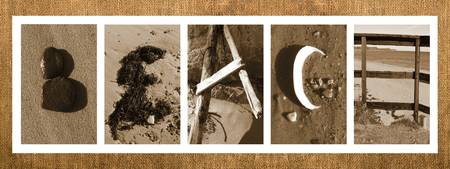 Beach Letters on Burlap