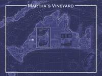 Martha's Vineyard Chart in Blue