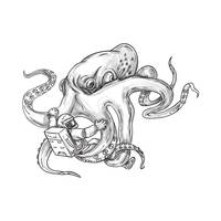 Giant Octopus Fighting Astronaut Tattoo