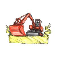 Mechanical Digger Excavator Ribbon Tattoo