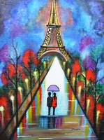 Love in Paris romantic painting valentine special